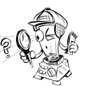 Cartoon blender character dressed as an investigator