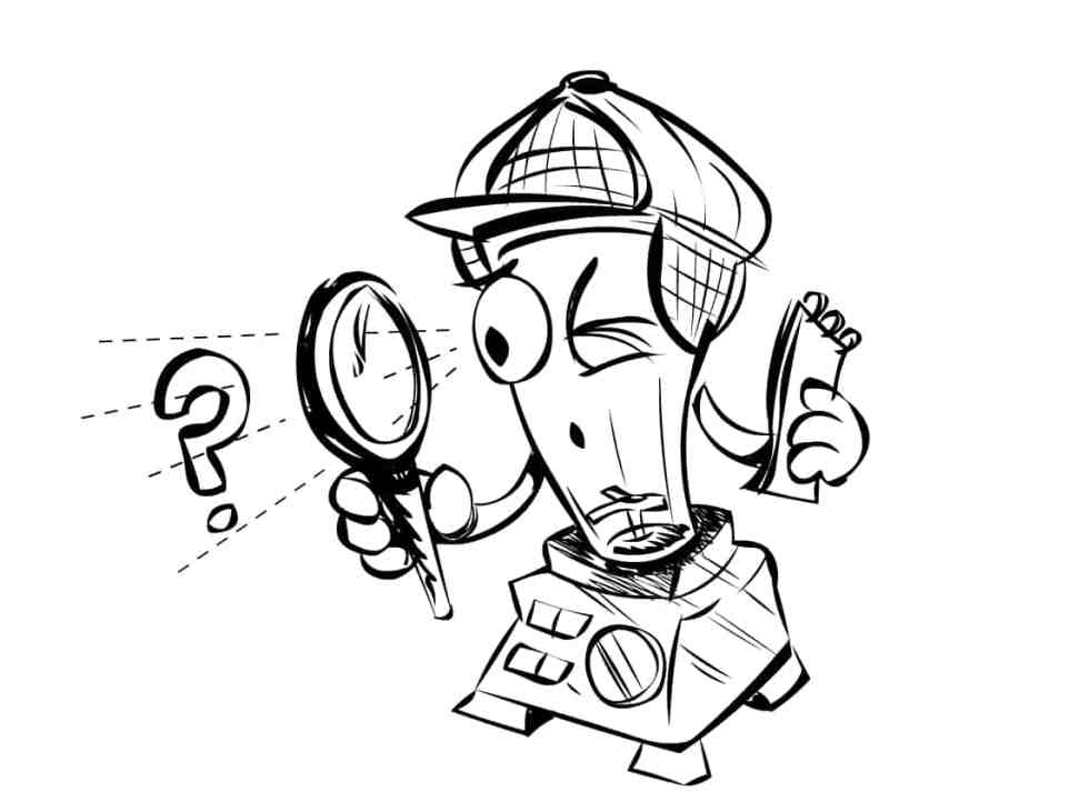 Cartoon blender character dressed as an investigator