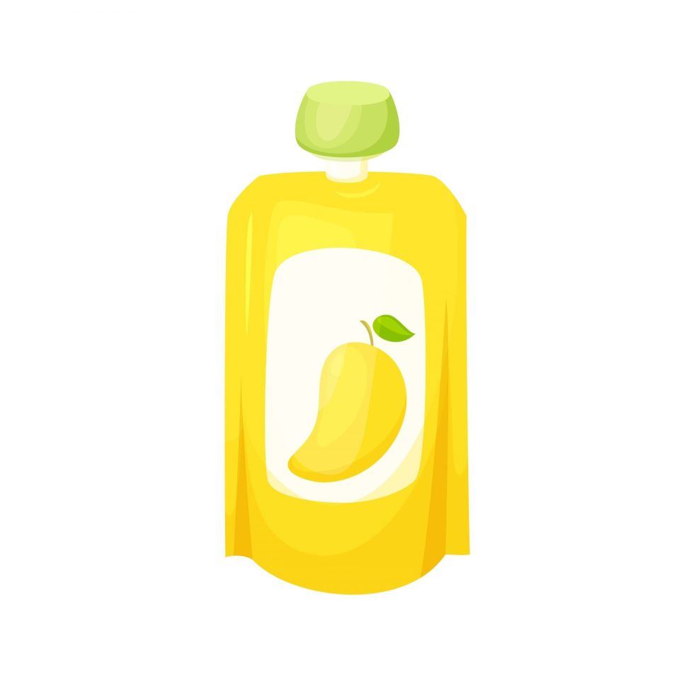mango puree in a squeeze pouch vector