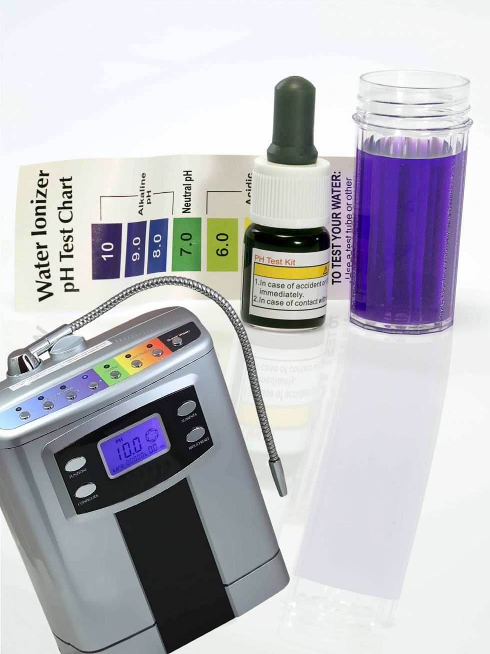 Alkaline water electric generator with test ph reagent