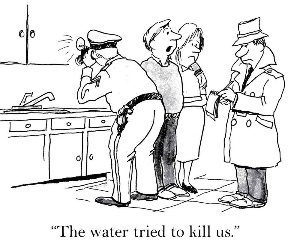 "Water pollution comic strip ""The water tried to kill us."""