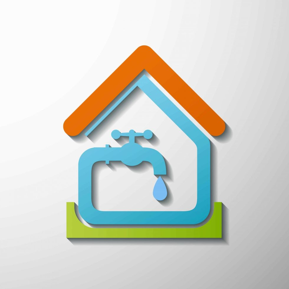 Illustration of a house and water tap
