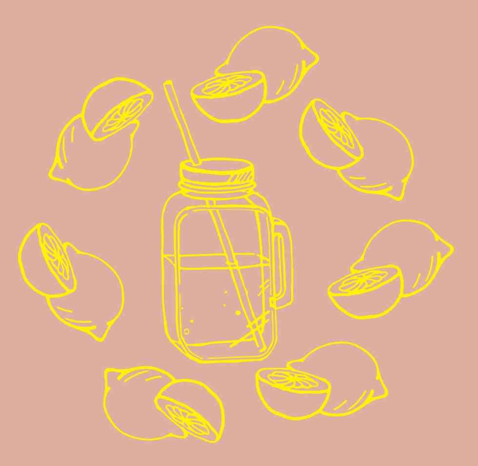 Illustration of a mason jar surrounded by citrus fruit