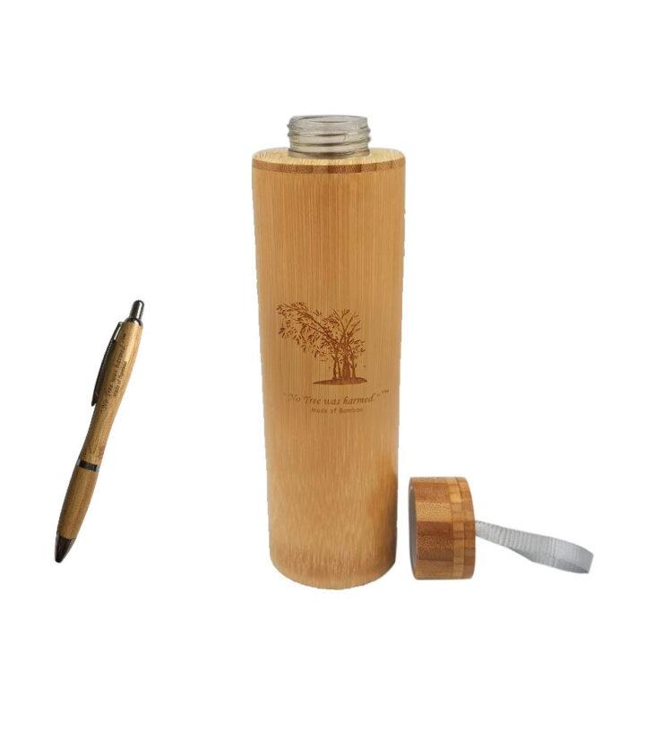 18 Oz Water Jar Open Cap Bamboo Pen