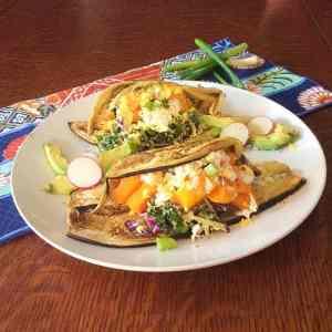 Eggplant & Squash Tacos with Miso Kale Slaw