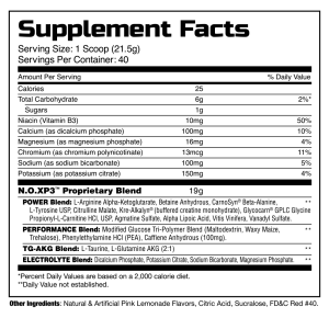 NOX-P3 pink lemonade supplement facts