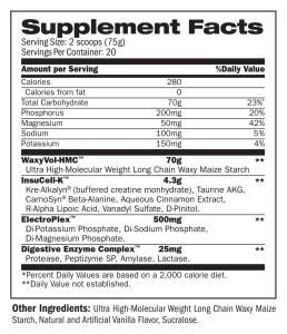 Mass Fuzion Neutral supplement facts