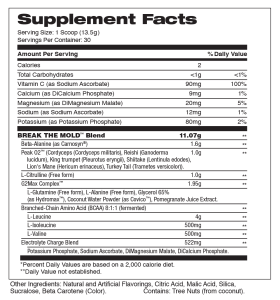 break the mold peach mango supplement facts