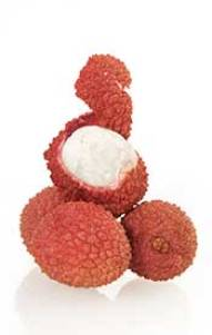 Peeled and Unpeeled Lychee Fruit.