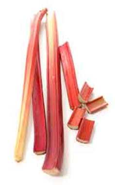 Rhubarb Stalks and Chopped Stems.