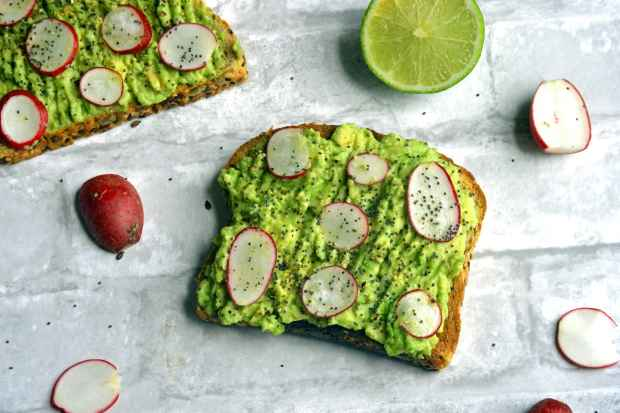 Avocado toast with radish and lime
