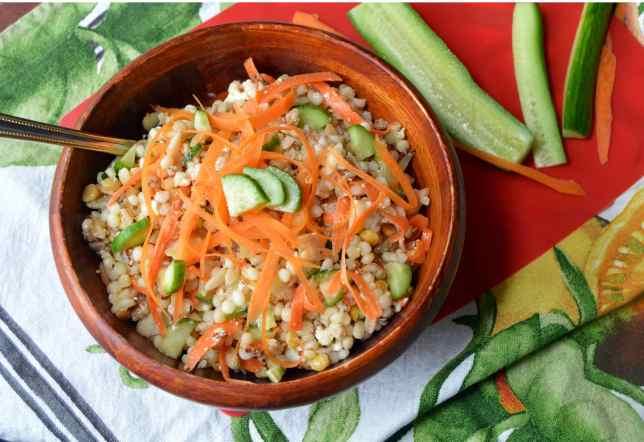 lemony grain salad with cucumbers, carrots and feta