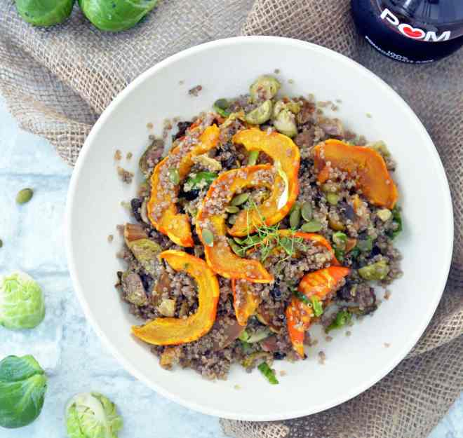 Squash Quinoa Salad with Brussels Sprouts, vegan & gluten-free
