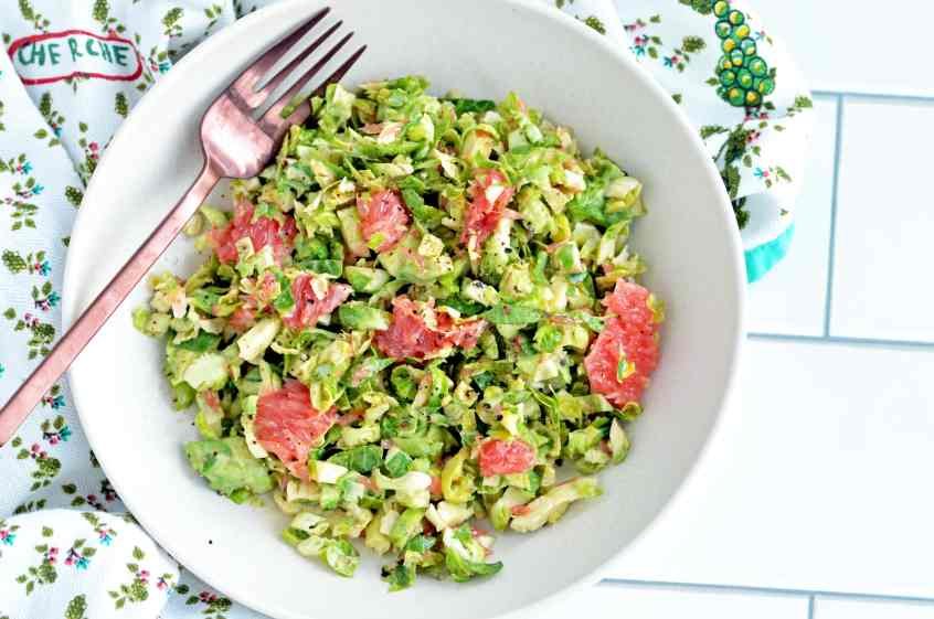 Recipe for winter slaw with brussels sprouts and grapefruit