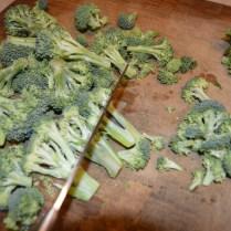 chop broccoli into bite sized pieces