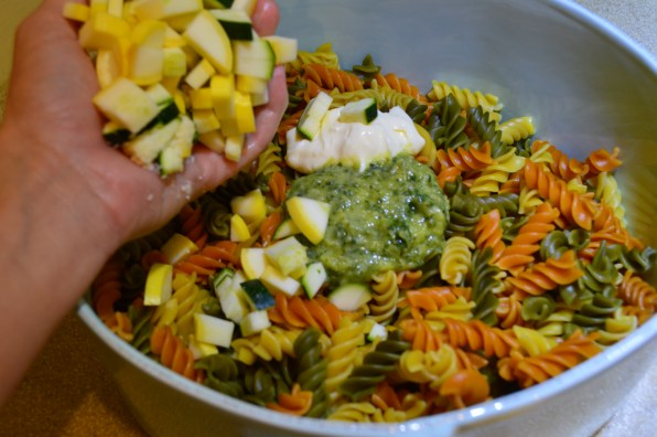 Tri-Colored Pasta with Pesto & Vegetables