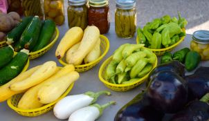Squash, eggplants, zuchinni and peppers