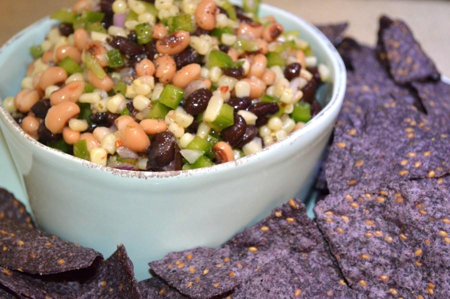 Cowboy Caviar w:Organic Blue Tortilla Chipw