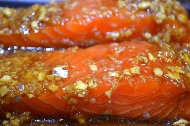 Marinated Salmon Fillets Ready for Oven