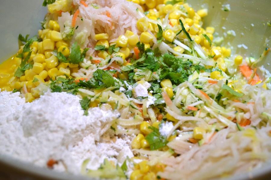 Shredded Vegetables, Corn, Flour, Salt, Egg Yolk, Parsley