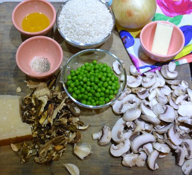 Ingredients for Italian Mushroom and Pea Risotto