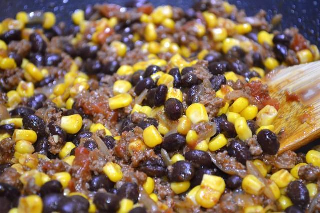 Beef, Onions, Tom Sauce w:Blk BNS & Corn
