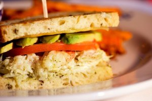 Locally caught Dungeness crab sandwich, Duke's on Alki Beach, Seattle