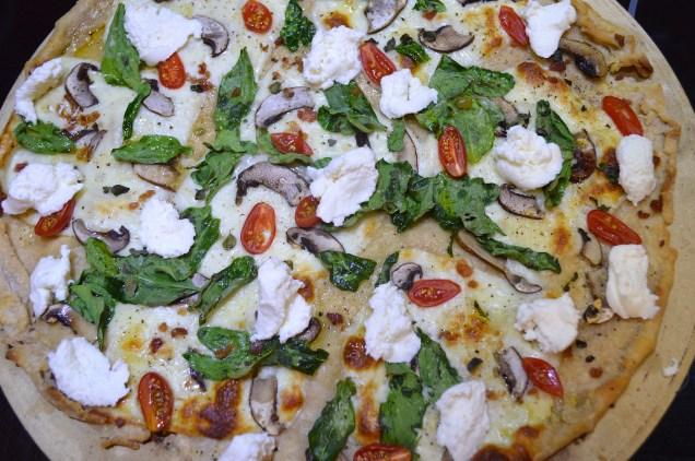 Sourdough Pizza with Baby Bellas, Spinach, Mozzarella, Tomato, Fresh Oregano and Ricotta