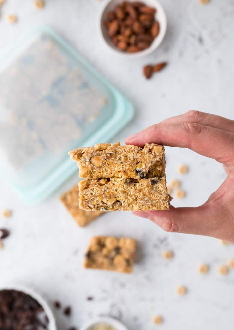 Homemade trail mix bars with cheerios
