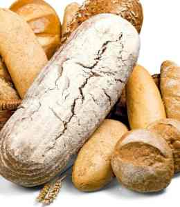 different breads and carbohydrate foods