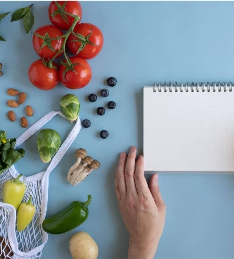 notepad to make vegan meal plan