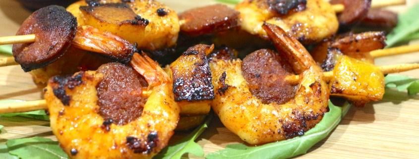 brochettes de crevettes marinées chorizo