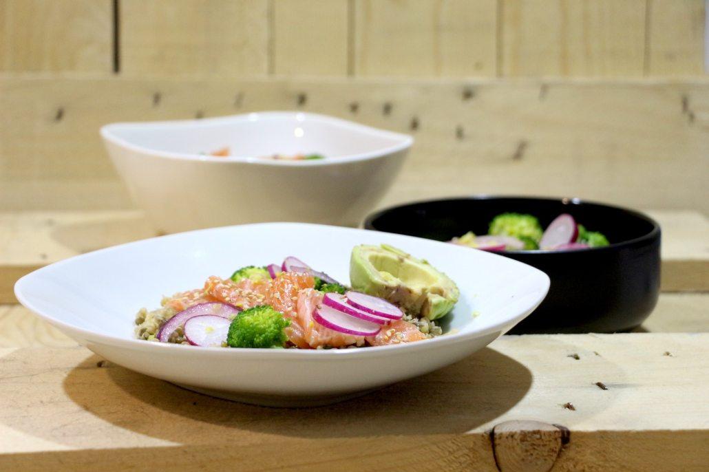 salade de lentilles et saumon mariné