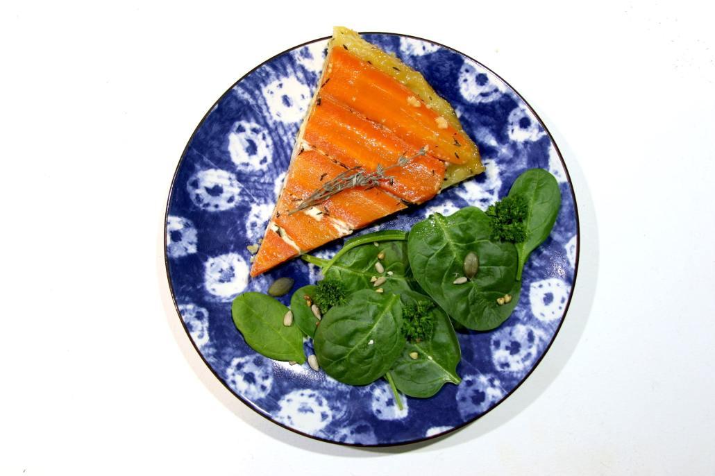 tarte tatin de carottes au chèvre et miel