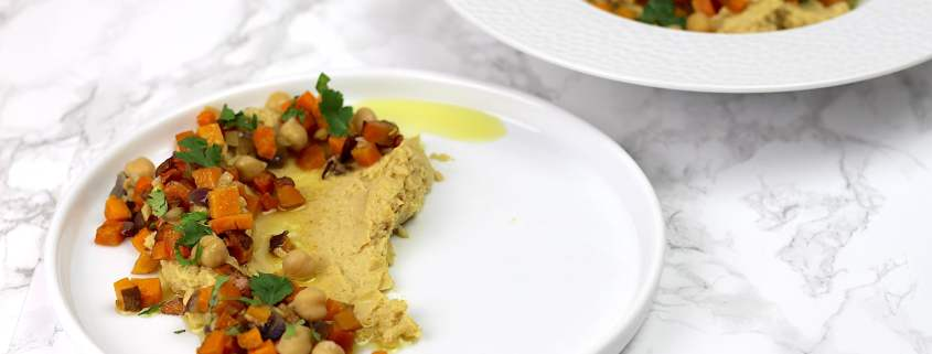houmous et patates douces rôties