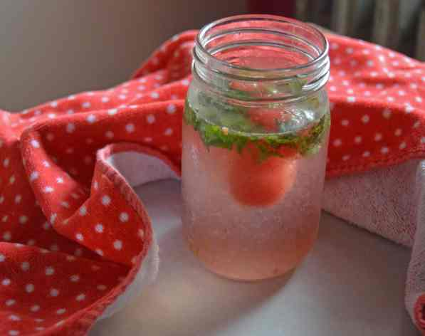 Watermelon lime ice drink- side