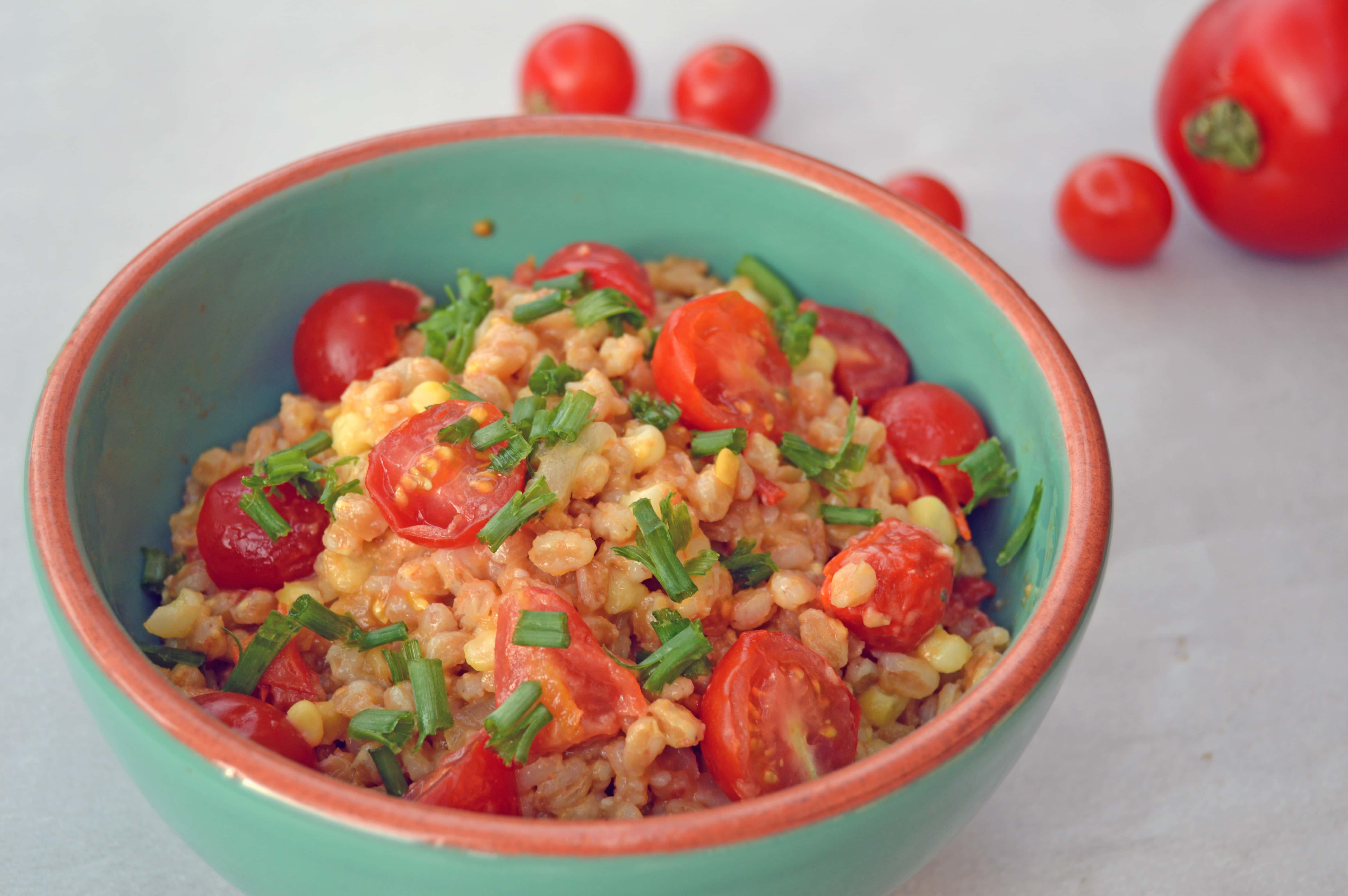 """Tomato and Corn Summer """"Farrotto"""" - Nutrition à la Natalie"""