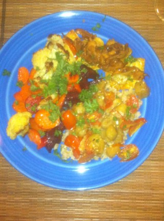 Roasted Vegetables, Rice, Tofu with Chantrelles