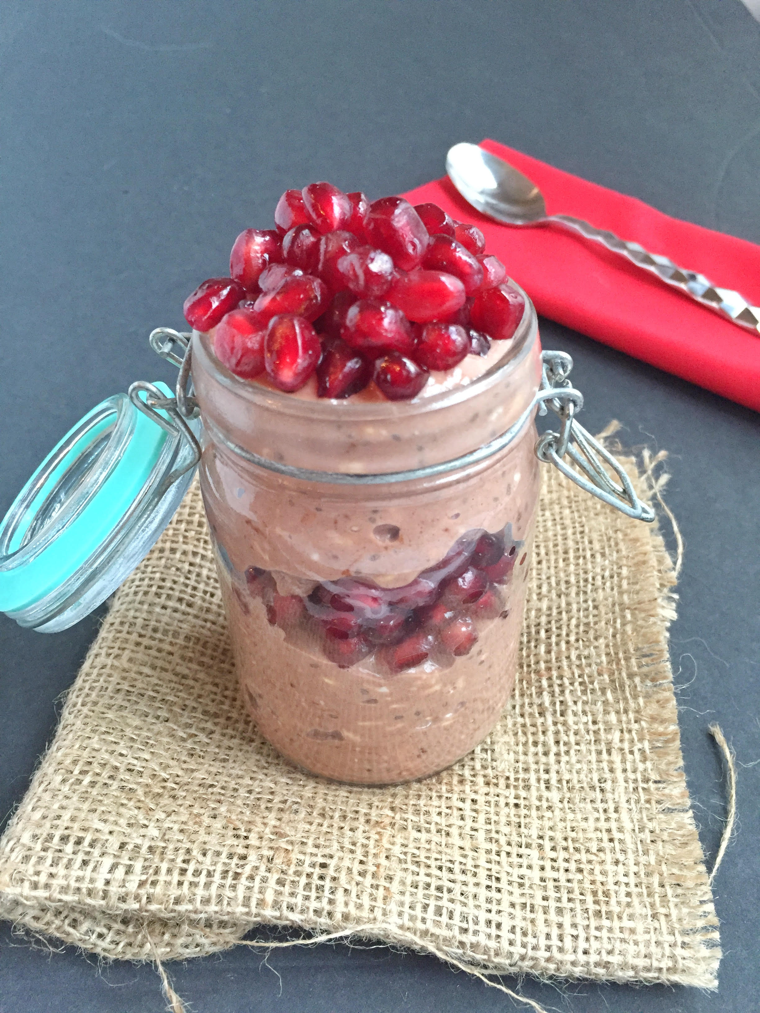 Chocolate Pomegranate Overnight Oats