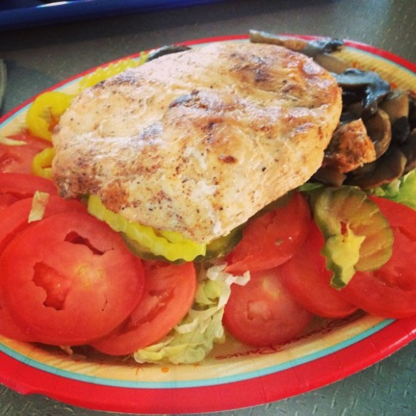 Grilled Chicken Salad Made With Burger Fixings