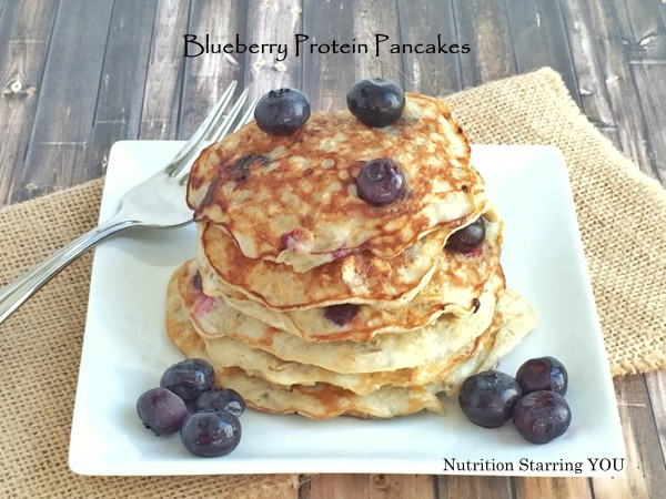 Blueberry Protein Pancakes with text