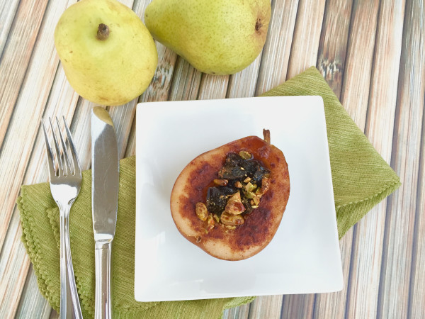 Roasted Pears with Dried Plums and Pistachios