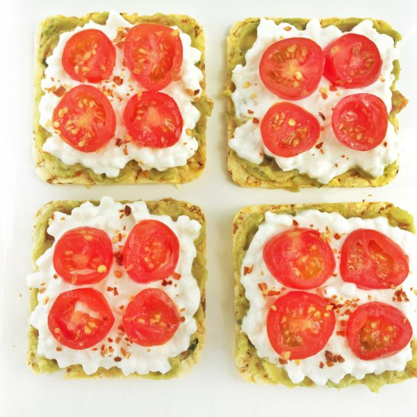 Cottage Cheese and Guacamole Quinoa Snack Cakes