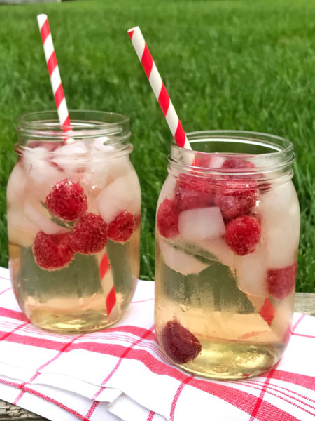 Spiced Raspberry Ginger Green Tea Cocktail