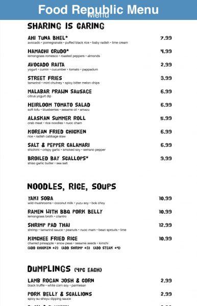Food Republic menu Norwegian Escape