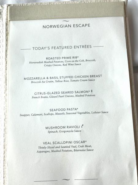 Norwegian Escape dining room sample menu