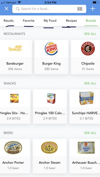 iTrackBites restaurant and snack food guide