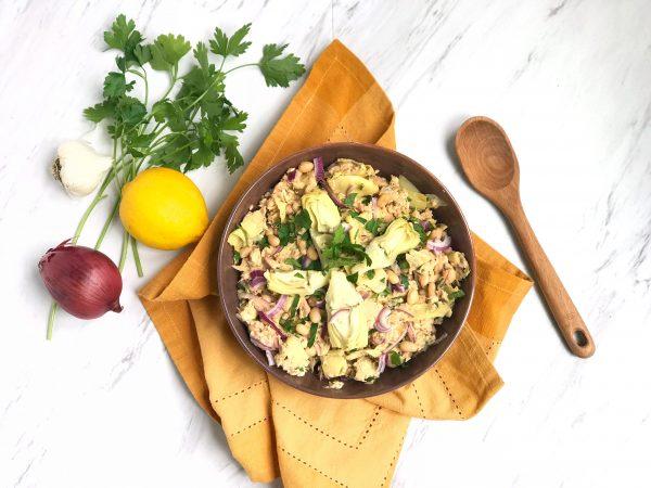 Mediterranean Salmon Salad with Artichokes, White Beans and Lemon Dressing