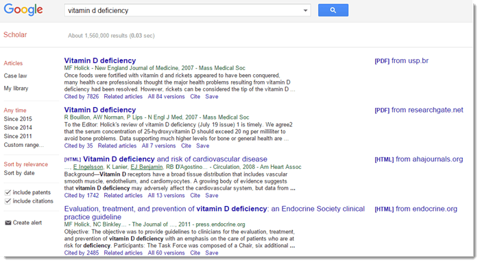 Vitamin D search through Google Scholar