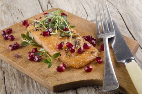 Salmon fillet with pomegranate seeds